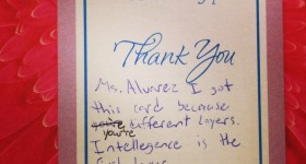 Student thanks teacher